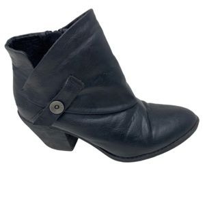 Blowfish Black Buckle Ankle Wedge Booties size 8.5